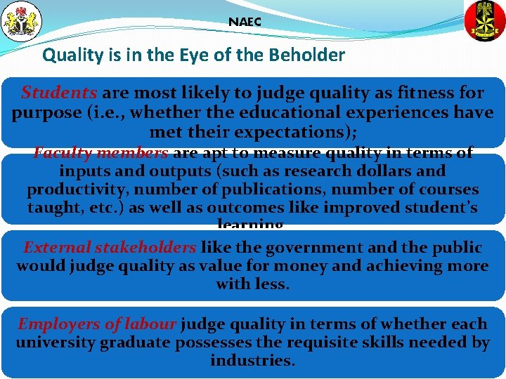 NAEC Quality is in the Eye of the Beholder Students are most likely to