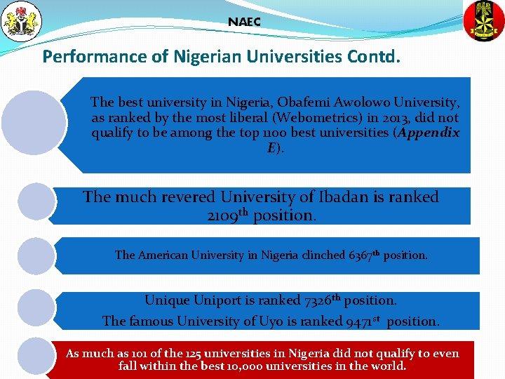 NAEC Performance of Nigerian Universities Contd. The best university in Nigeria, Obafemi Awolowo University,