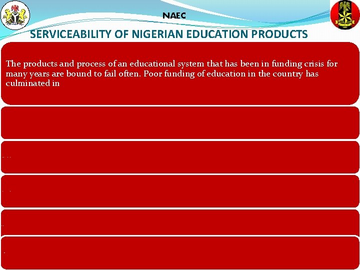 NAEC SERVICEABILITY OF NIGERIAN EDUCATION PRODUCTS The products and process of an educational system
