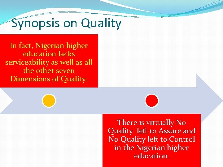 Synopsis on Quality In fact, Nigerian higher education lacks serviceability as well as all