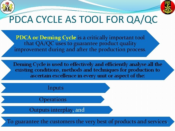PDCA CYCLE AS TOOL FOR QA/QC PDCA or Deming Cycle is a critically important