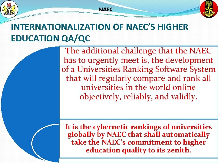 NAEC INTERNATIONALIZATION OF NAEC'S HIGHER EDUCATION QA/QC The additional challenge that the NAEC has