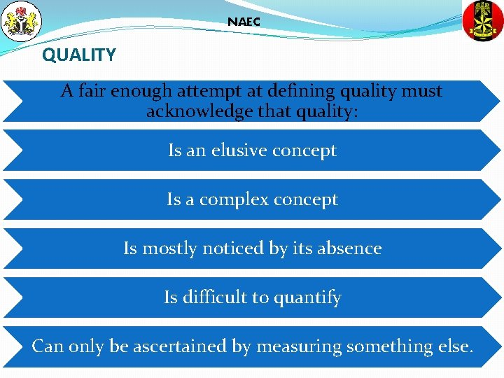 NAEC QUALITY A fair enough attempt at defining quality must acknowledge that quality: Is