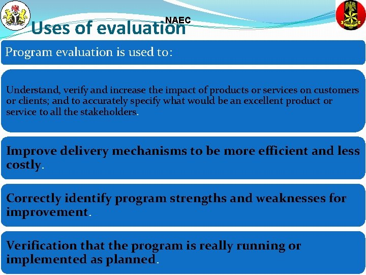 Uses of evaluation NAEC Program evaluation is used to: Understand, verify and increase the