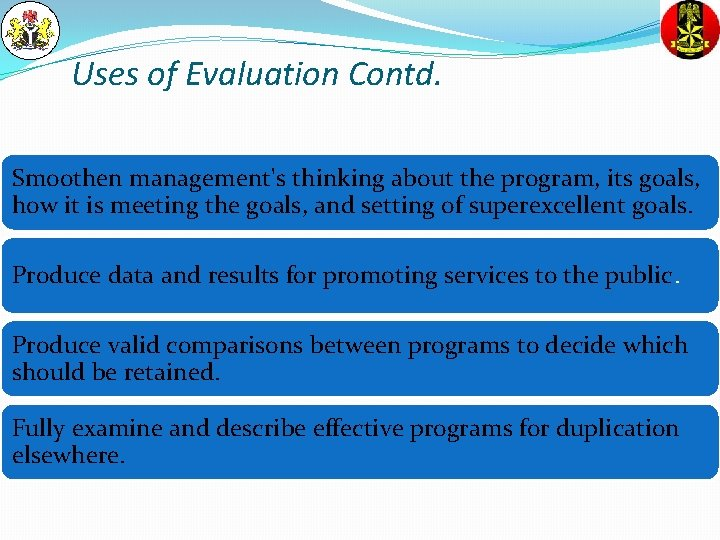 Uses of Evaluation Contd. Smoothen management's thinking about the program, its goals, how it