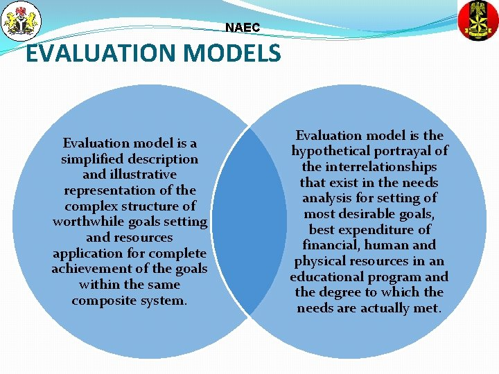 NAEC EVALUATION MODELS Evaluation model is a simplified description and illustrative representation of the