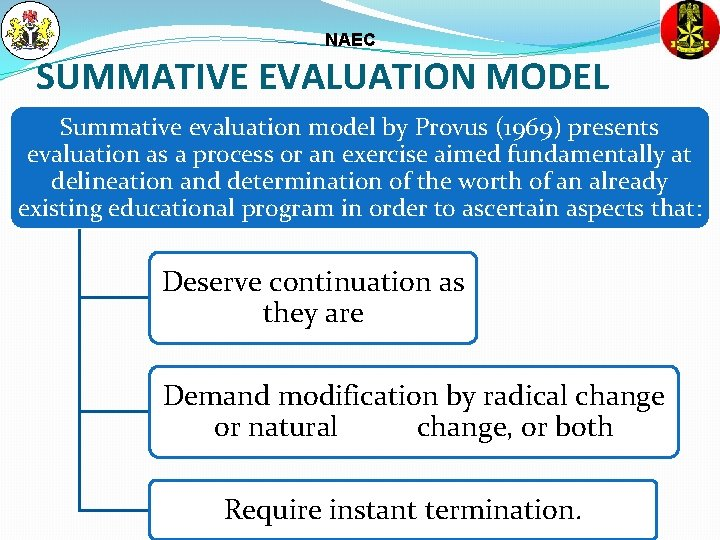 NAEC SUMMATIVE EVALUATION MODEL Summative evaluation model by Provus (1969) presents evaluation as a