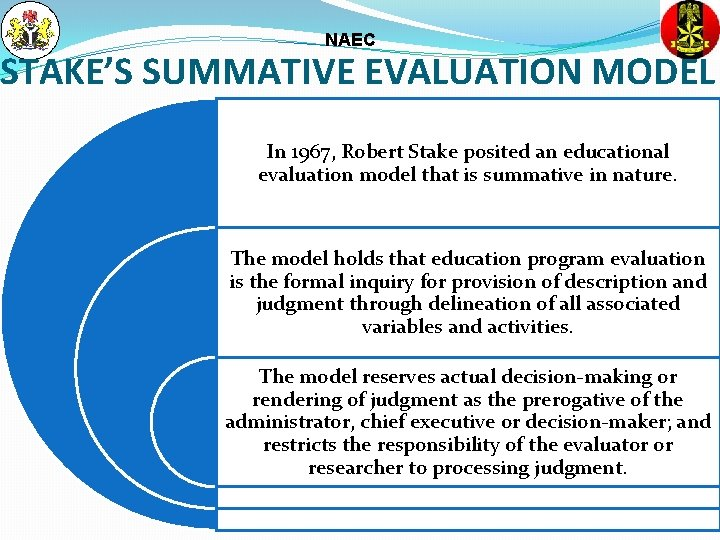 NAEC STAKE'S SUMMATIVE EVALUATION MODEL In 1967, Robert Stake posited an educational evaluation model