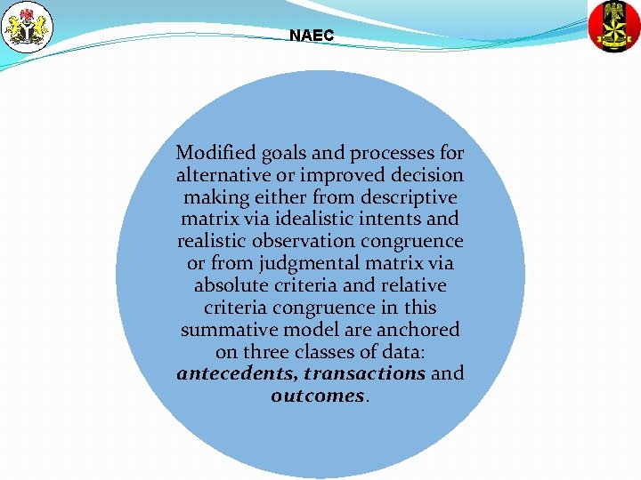 NAEC Modified goals and processes for alternative or improved decision making either from descriptive