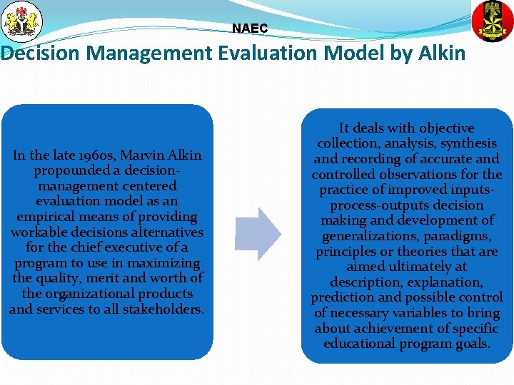 NAEC Decision Management Evaluation Model by Alkin In the late 1960 s, Marvin Alkin