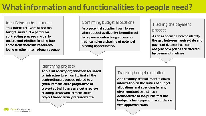 What information and functionalities to people need? Identifying budget sources Confirming budget allocations As