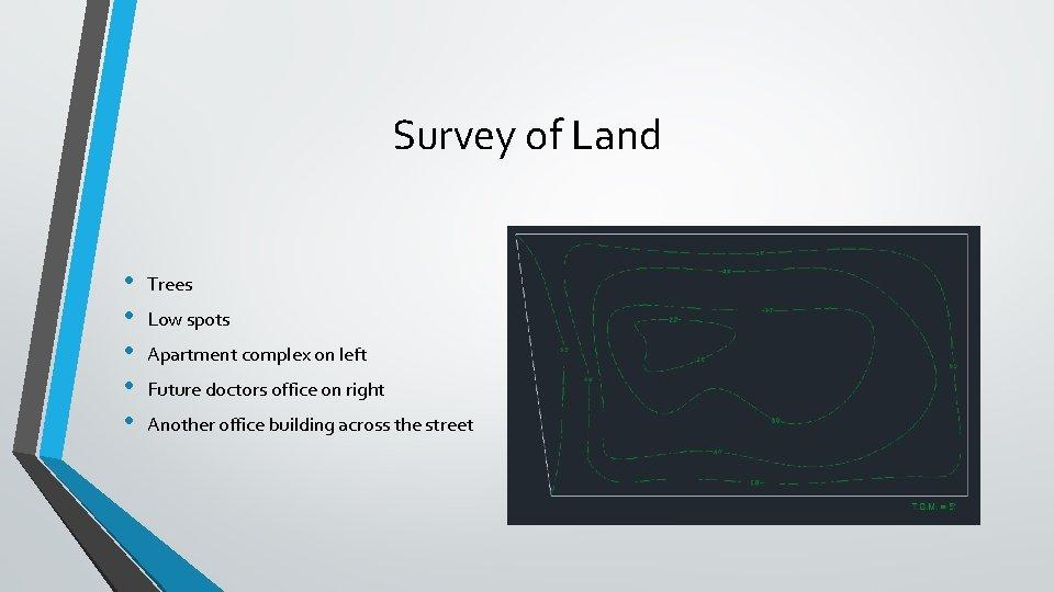 Survey of Land • • • Trees Low spots Apartment complex on left Future
