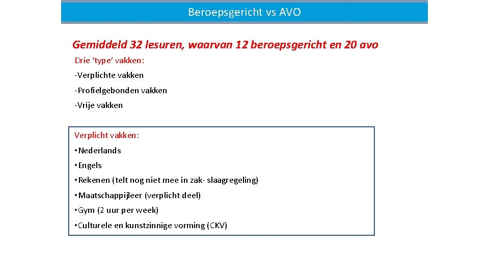 Beroepsgerichtvsvs. AVO(1) Beroepsgericht Gemiddeld 32 lesuren, waarvan 12 beroepsgericht en 20 avo Drie 'type'