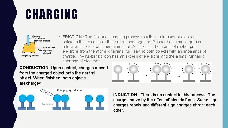 CHARGING • FRICTION : The frictional charging process results in a transfer of electrons