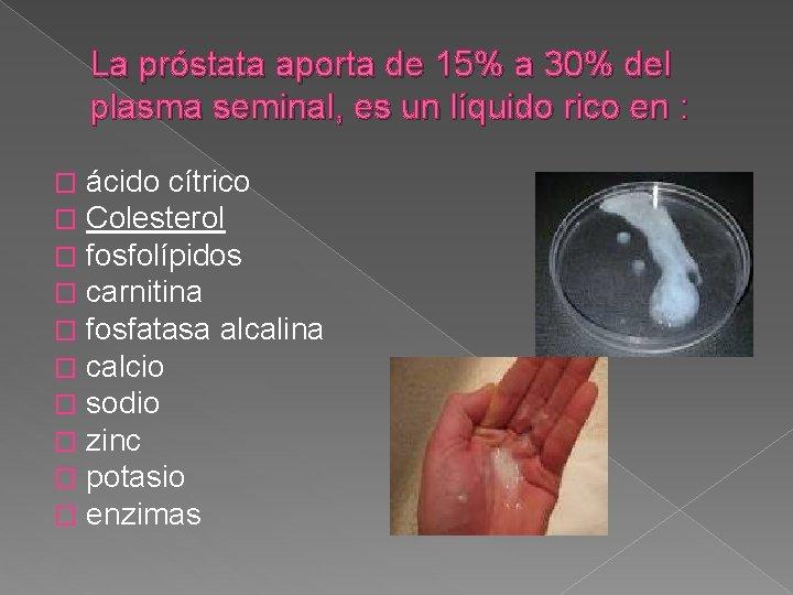 La próstata aporta de 15% a 30% del plasma seminal, es un líquido rico