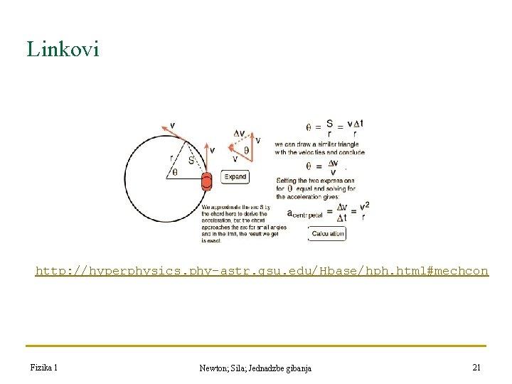 Linkovi http: //hyperphysics. phy-astr. gsu. edu/Hbase/hph. html#mechcon Fizika 1 Newton; Sila; Jednadzbe gibanja 21