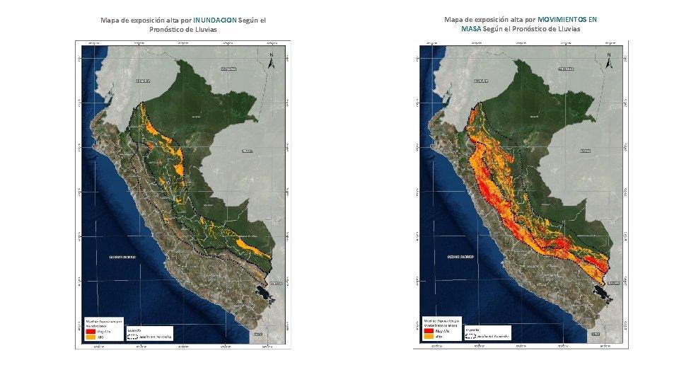 Mapa de exposición alta por INUNDACION Según el Pronóstico de Lluvias Mapa de exposición