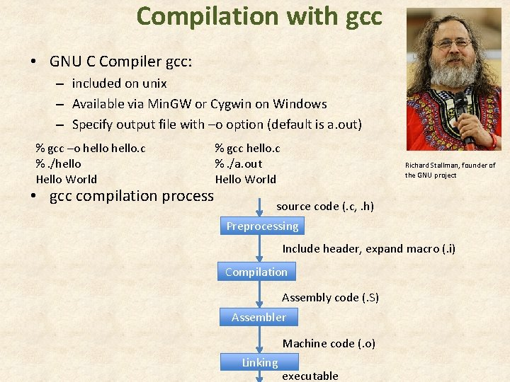 Compilation with gcc • GNU C Compiler gcc: – included on unix – Available
