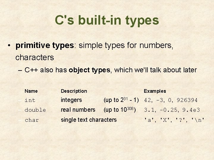 C's built-in types • primitive types: simple types for numbers, characters – C++ also