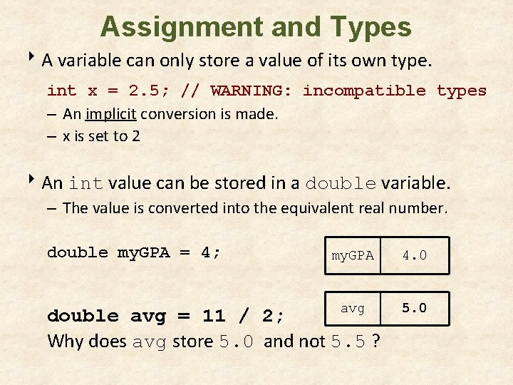 Assignment and Types 8 A variable can only store a value of its own