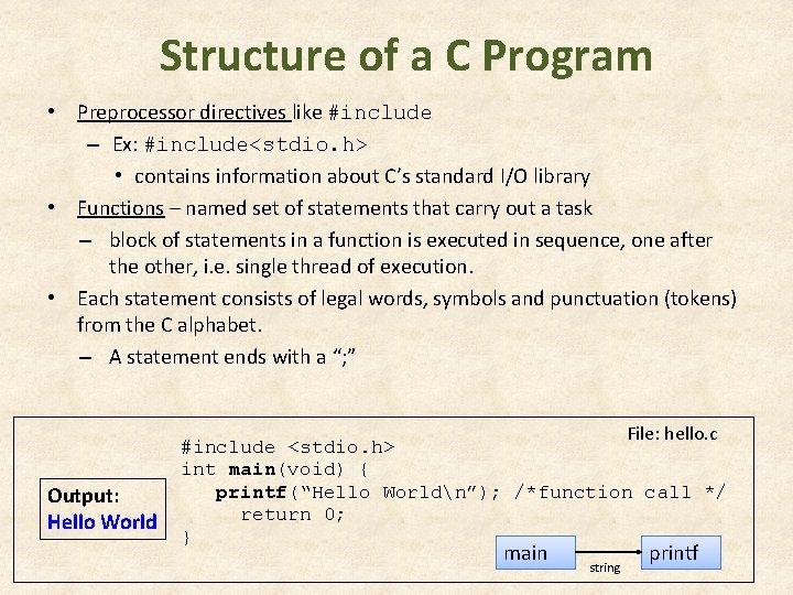 Structure of a C Program • Preprocessor directives like #include – Ex: #include<stdio. h>