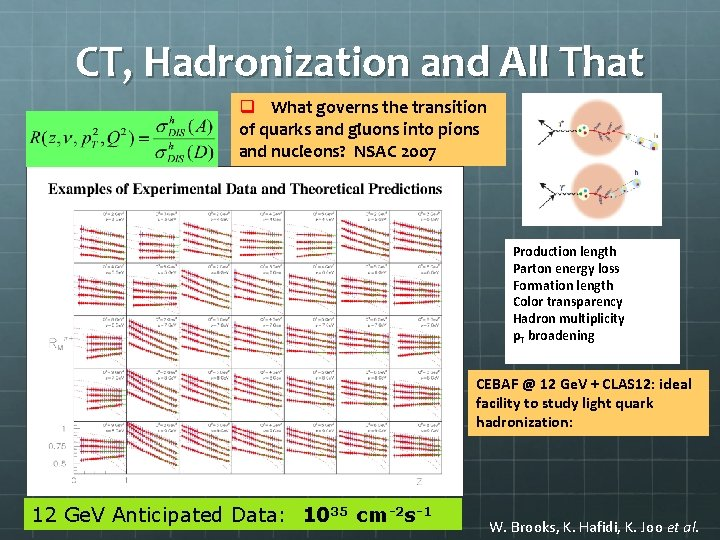 CT, Hadronization and All That q What governs the transition of quarks and gluons