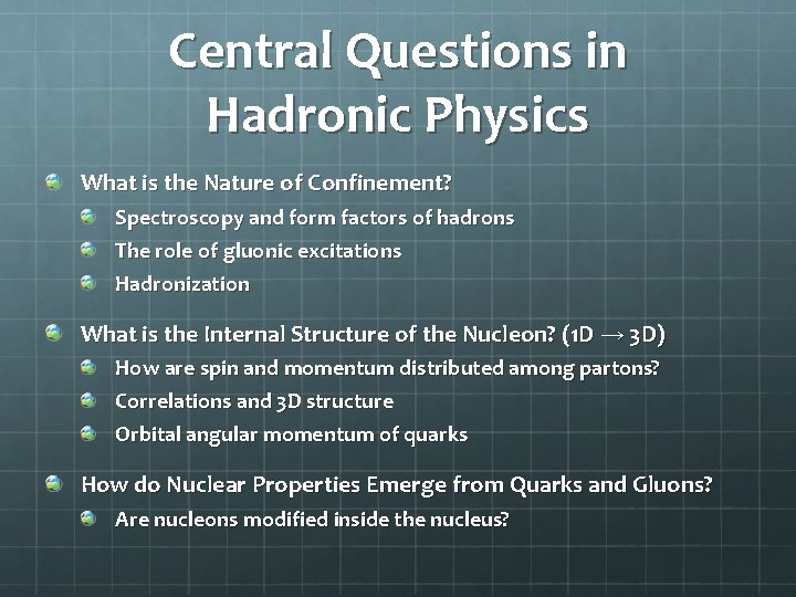 Central Questions in Hadronic Physics What is the Nature of Confinement? Spectroscopy and form