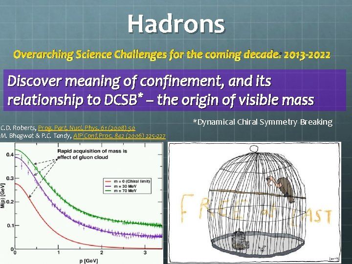 Hadrons Overarching Science Challenges for the coming decade: 2013 -2022 Discover meaning of confinement,