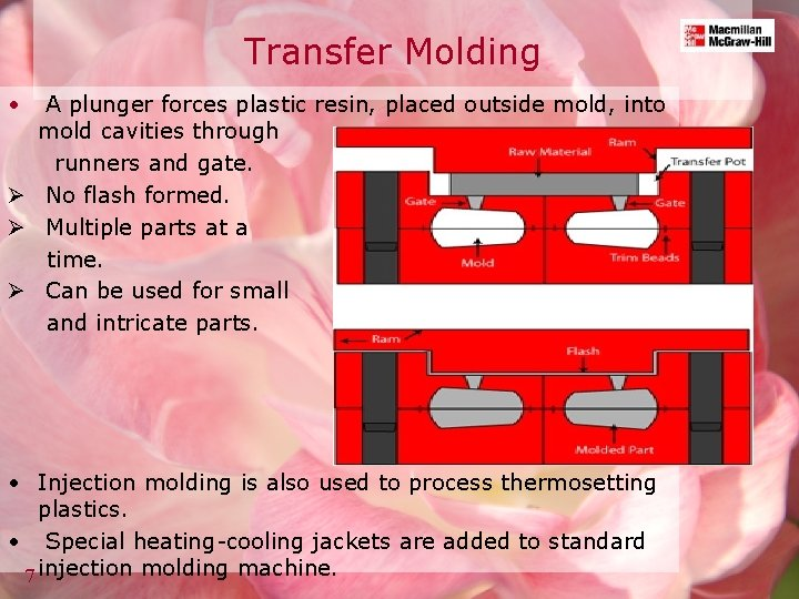 Transfer Molding • A plunger forces plastic resin, placed outside mold, into mold cavities