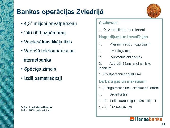 Bankas operācijas Zviedrijā • 4, 3* miljoni privātpersonu • 240 000 uzņēmumu • Visplašākais