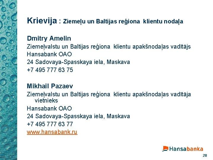Krievija : Ziemeļu un Baltijas reģiona klientu nodaļa Dmitry Amelin Ziemeļvalstu un Baltijas reģiona