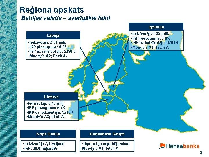 Reģiona apskats Baltijas valstis – svarīgākie fakti Igaunija • Iedzīvotāji: 1, 35 milj. •