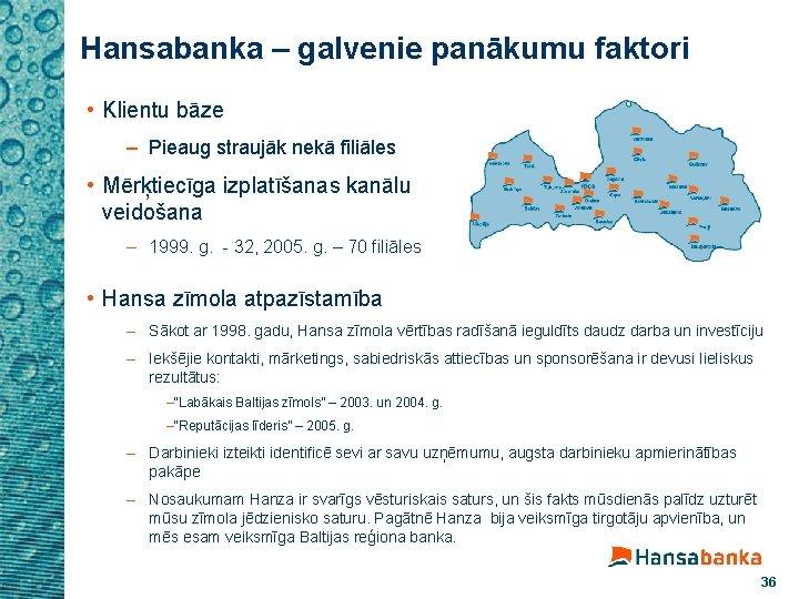 Hansabanka – galvenie panākumu faktori • Klientu bāze – Pieaug straujāk nekā filiāles •