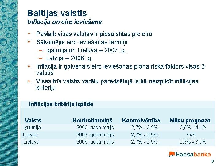 Baltijas valstis Inflācija un eiro ieviešana • Pašlaik visas valūtas ir piesaistītas pie eiro