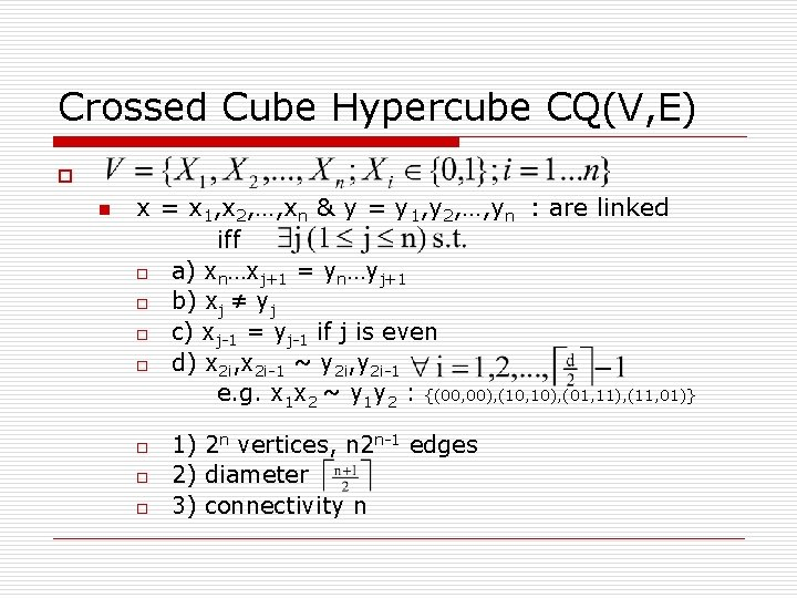 Crossed Cube Hypercube CQ(V, E) o n x = x 1, x 2, …,