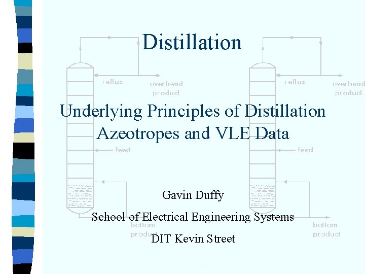 Distillation Underlying Principles of Distillation Azeotropes and VLE Data Gavin Duffy School of Electrical