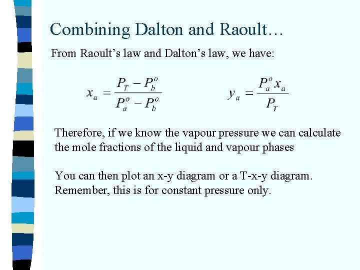Combining Dalton and Raoult… From Raoult's law and Dalton's law, we have: Therefore, if