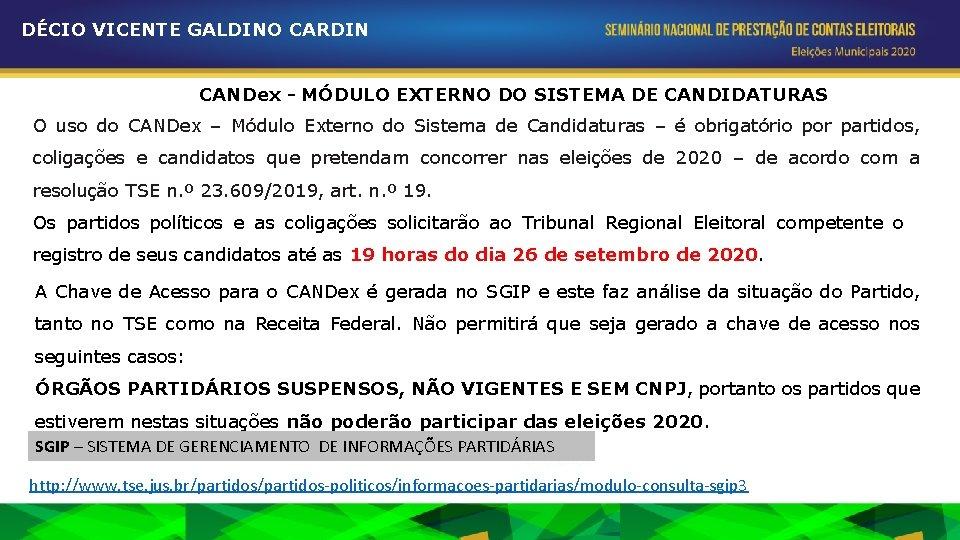 DÉCIO VICENTE GALDINO CARDIN CANDex - MÓDULO EXTERNO DO SISTEMA DE CANDIDATURAS O uso