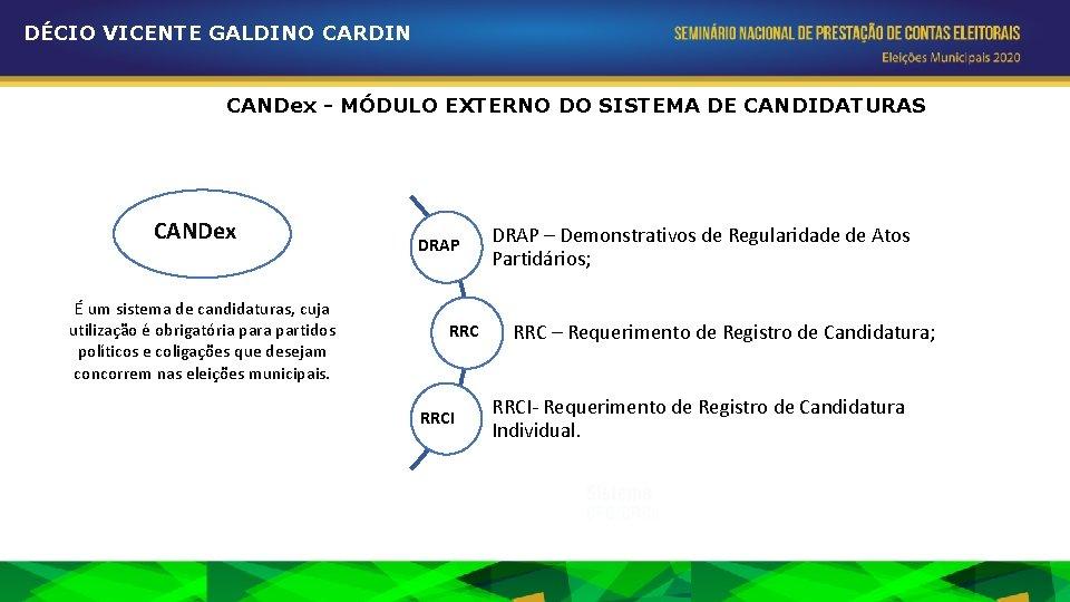 DÉCIO VICENTE GALDINO CARDIN CANDex - MÓDULO EXTERNO DO SISTEMA DE CANDIDATURAS CANDex É