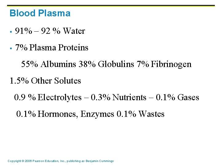 Blood Plasma § 91% – 92 % Water § 7% Plasma Proteins 55% Albumins