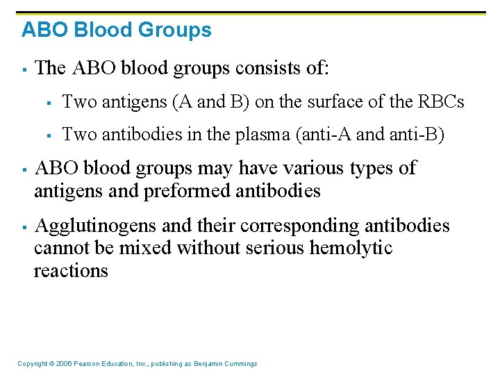 ABO Blood Groups § § § The ABO blood groups consists of: § Two