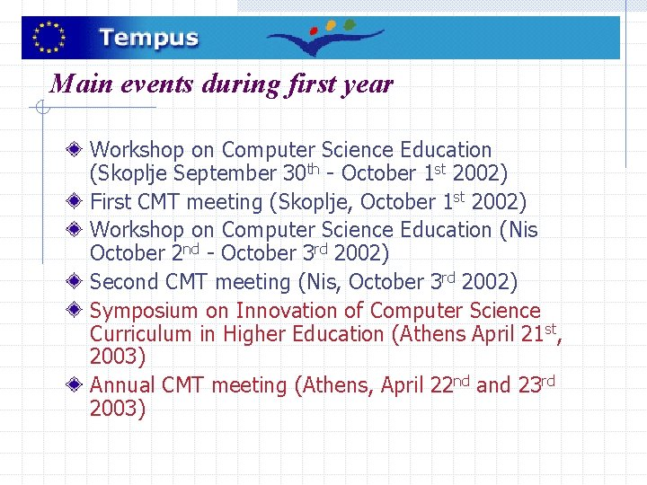 Main events during first year Workshop on Computer Science Education (Skoplje September 30 th