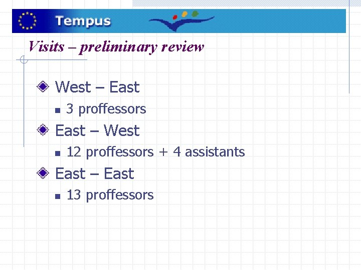 Visits – preliminary review West – East n 3 proffessors East – West n