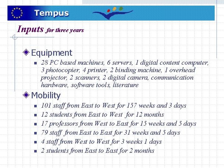 Inputs for three years Equipment n 28 PC based machines, 6 servers, 1 digital