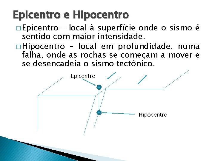 Epicentro e Hipocentro � Epicentro – local à superfície onde o sismo é sentido