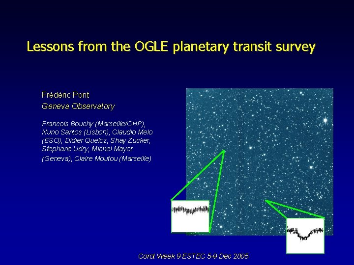 Lessons from the OGLE planetary transit survey Frédéric Pont Geneva Observatory Francois Bouchy (Marseille/OHP),