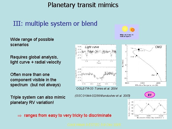 Planetary transit mimics III: multiple system or blend Wide range of possible scenarios Light