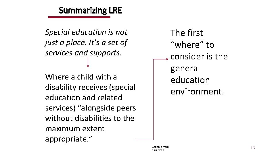 Summarizing LRE Special education is not just a place. It's a set of services