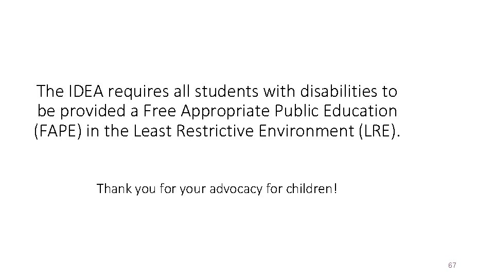 The IDEA requires all students with disabilities to be provided a Free Appropriate Public