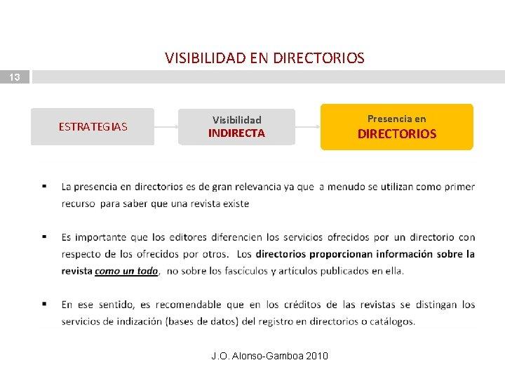 VISIBILIDAD EN DIRECTORIOS 13 ESTRATEGIAS Visibilidad INDIRECTA J. O. Alonso-Gamboa 2010 Presencia en DIRECTORIOS
